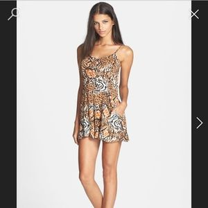 Animal print romper with pockets